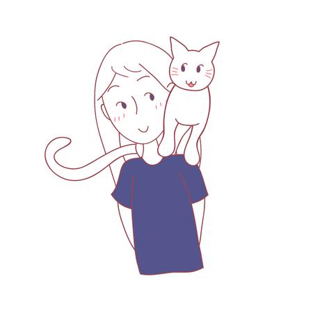 Chat assis sur l'épaule d'une fille. Illustration vectorielle isolé sur fond blanc. Banque d'images - 92499278