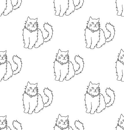 White Persian Cat on White Background. Vector Illustration.