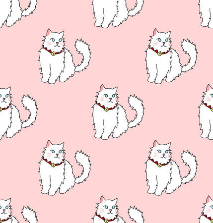 White Persian Cat on Pink Background. Vector Illustration.