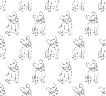 Cute French Bulldog on White Background. Vector Illustration.