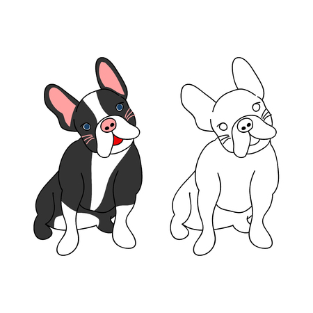Cute French Bulldog. Vector Illustration. isolated on White Background.