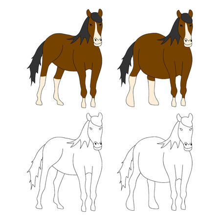 Brown Horse Cartoon. Vector Illustration. isolated on White Background.