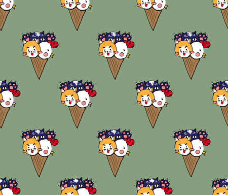 Cute Cat Dog Chicken Ice Cream on Green Tea Background. Vector Illustration.