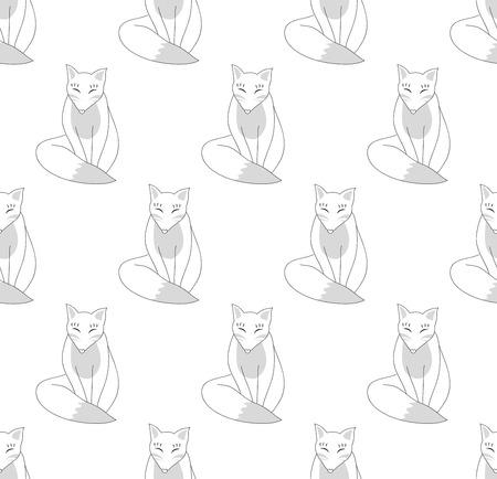 Kitsune Fox on White Background. Vector Illustration. Illustration