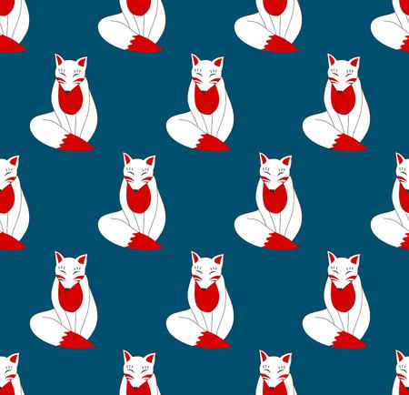 Kitsune Fox on Indigo Blue Background. Vector Illustration.