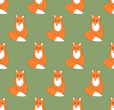 Cute Red Fox on Green Background. Vector Illustration.