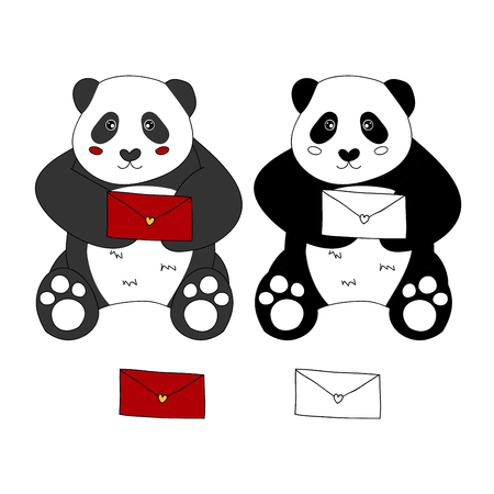 Cute Panda with Red Letter. Vector Illustration. isolated on White Background.