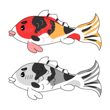 Colorful Carp. Vector Illustration. isolated on White Background.