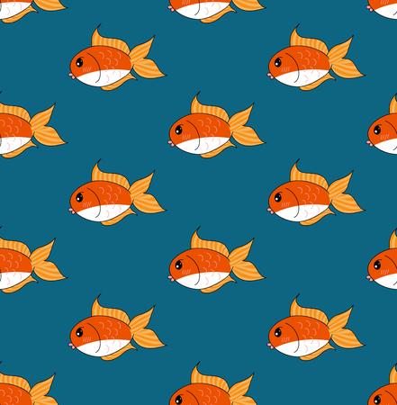 Cute Goldfish on Indigo Blue Background. Vector Illustration.