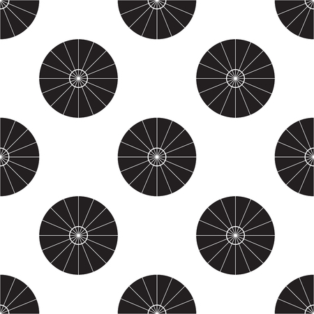 Umbrella Top View Vector Illustration. Parasol Flat Sign Seamless on White Background. Stock Illustratie
