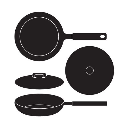 Frying Pan icon Vector Illustration. Flat Sign isolated on White Background. Vectores