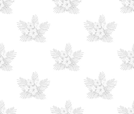 Ipomoea Quamoclit, Cypress Flower Outline Background in seamless pattern. Иллюстрация
