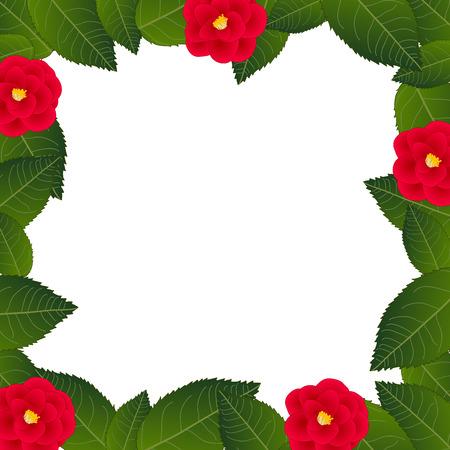 Red Camellia Flower Frame Border. isolated on White Background. Vector Illustration. Vectores