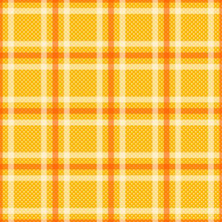 Yellow Orange Tartan with White Stripes Seamless Background. Vector Illustration.