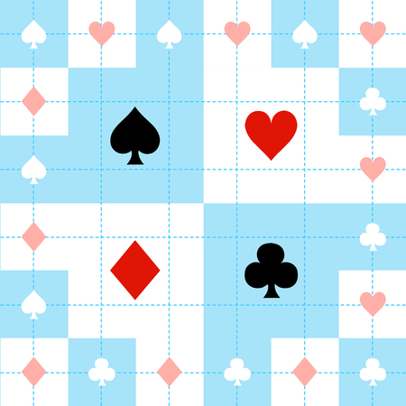 Card Suits Blue Red White Chess Board Background Vector Illustration