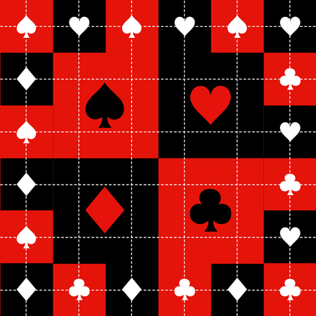 Card Suits Red Black White Chess Board Background Vector Illustration