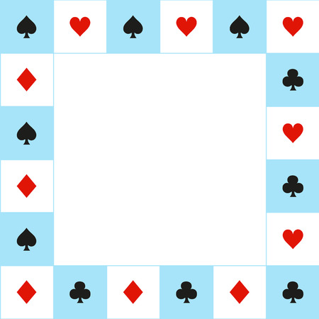 Card Suits Blue Red White Chess Board Border. Vector Illustration