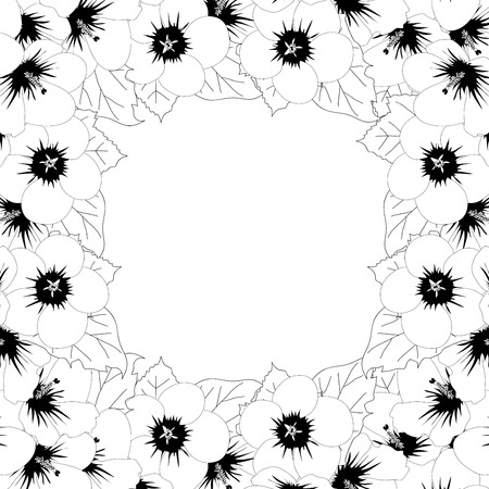 Hibiscus syriacus Outline - Rose of Sharon Border isolated on White Background. Vector Illustration.