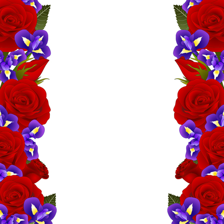 Red Rose and Iris Flower Frame Border. isolated on White Background. Vector Illustration.