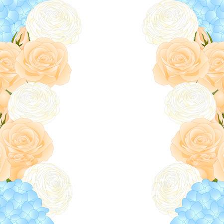 Orange Rose, Blue Hydrangea and White Ranunculus Border. isolated on White Background. Vector Illustration.