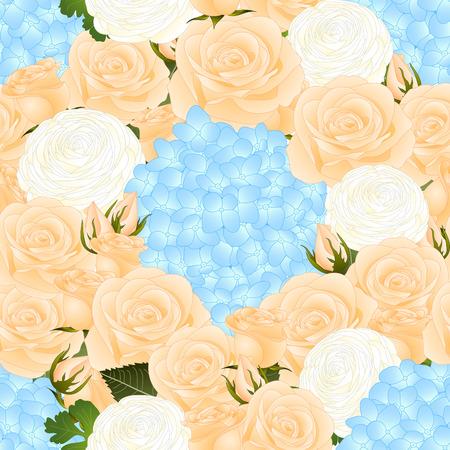 Orange Rose, Blue Hydrangea and White Ranunculus Seamless Background. Vector Illustration. Standard-Bild - 104142533