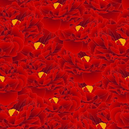 Red Peony Seamless Background. Vector Illustration.