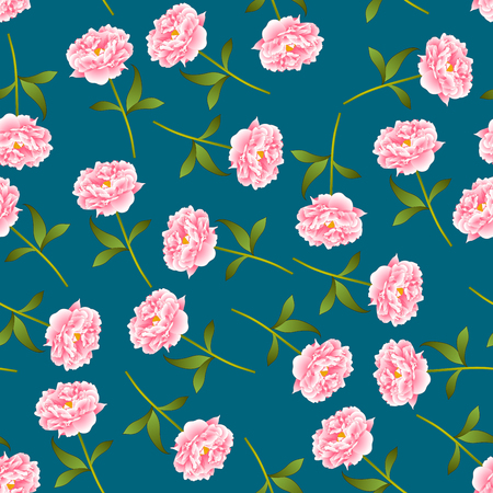 Pink Peony Seamless on Indigo Blue Background. Vector Illustration.