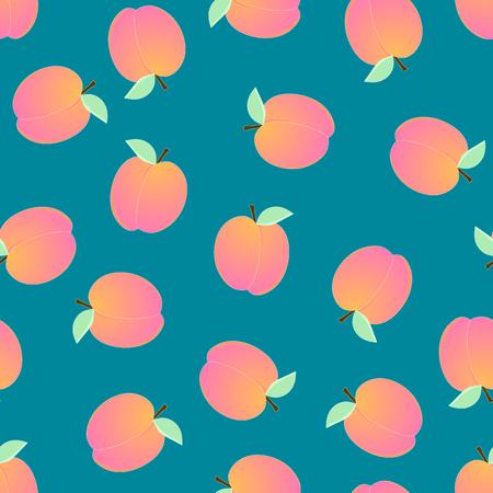 Peach Seamless on Blue Background. Vector Illustration.