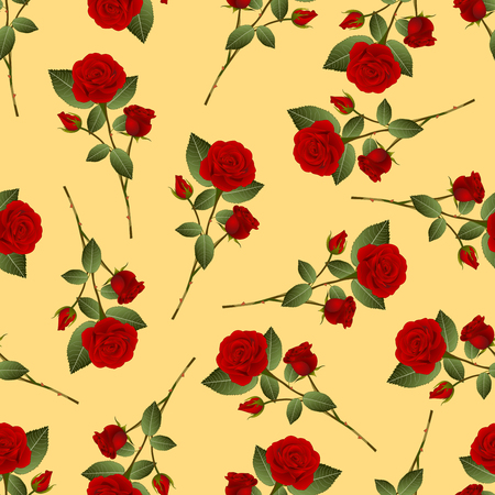 Red Rose Bouquet on Yellow Background. Vector Illustration.