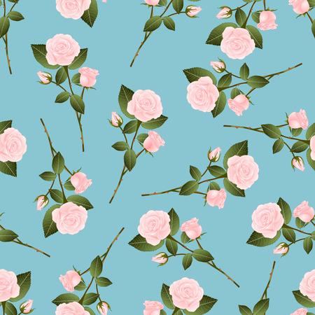 Pink Rose Bouquet on Blue Background. Vector Illustration. Çizim