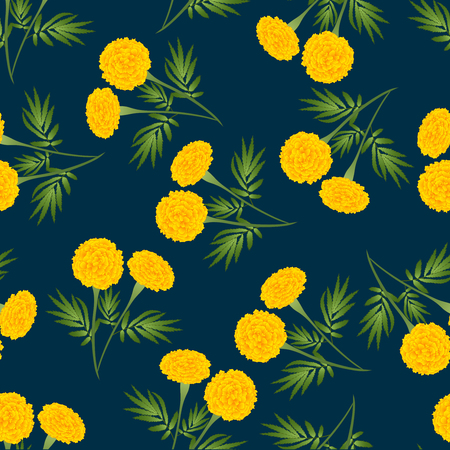 Yellow Marigold Seamless on Dark Blue Background. Vector Illustration.