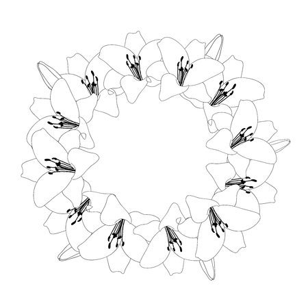 Lily Flower Outline Wreath isolated on White Background. Vector Illustration.