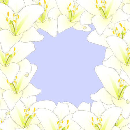 White Lily Flower Border isolated on Purple Background. Vector Illustration.
