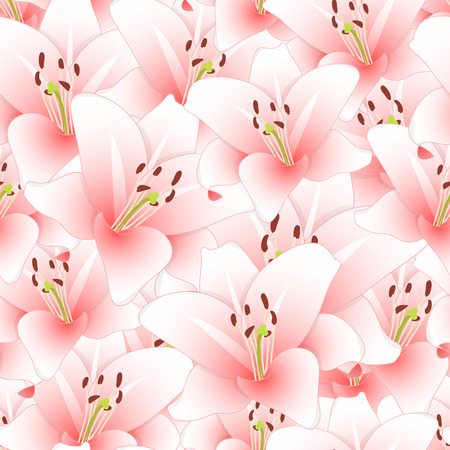 Pink Lily Flower Seamless Background. Vector Illustration.
