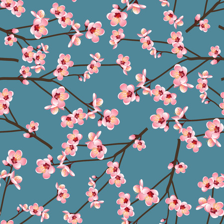 Momo Peach Flower Blossom naadloos op blauwe achtergrond. Vectorillustratie.