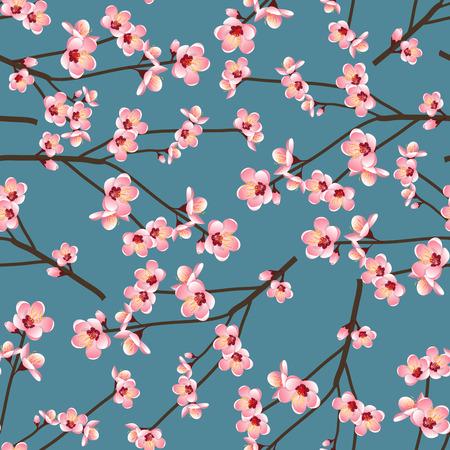 Momo Pfirsich-Blumen-Blüte nahtlos auf blauem Hintergrund. Vektor-Illustration.