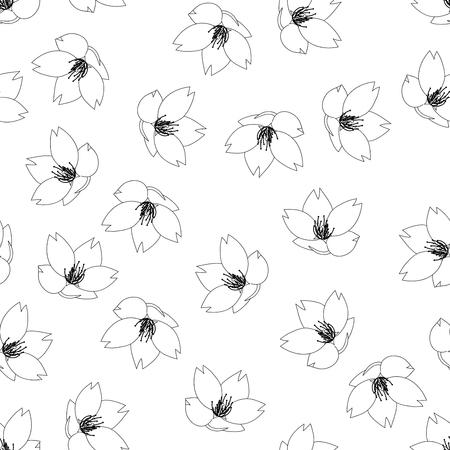 Prunus serrulata Outline - Cherry blossom, Sakura Outline on White Background. Vector Illustration. Çizim