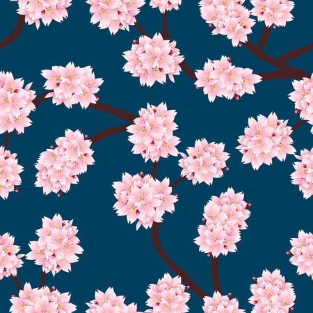 Prunus serrulata Outline - Cherry blossom, Sakura on Indigo Blue Background. Vector Illustration.