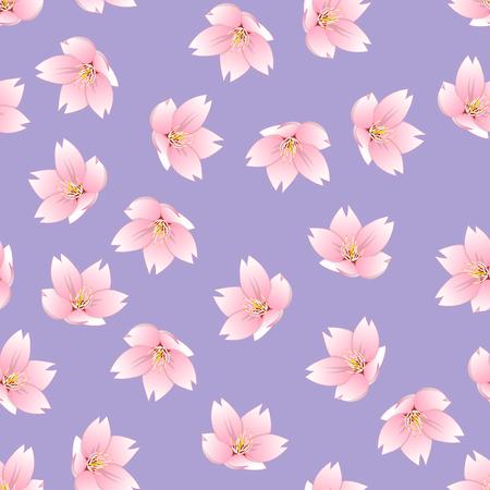 Prunus serrulata Outline - Cherry blossom, Sakura on Purple Background. Vector Illustration.