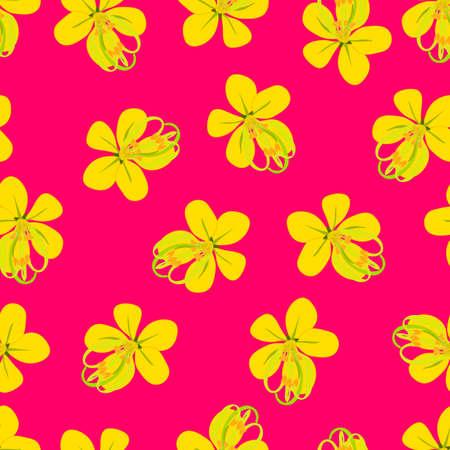 Cassia Fistula - Golden Shower Flower on Pink Background. Vector Illustration Illustration