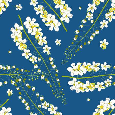 Cassia Fistula - Golden Shower Flower on Indigo Blue Background. Vector Illustration