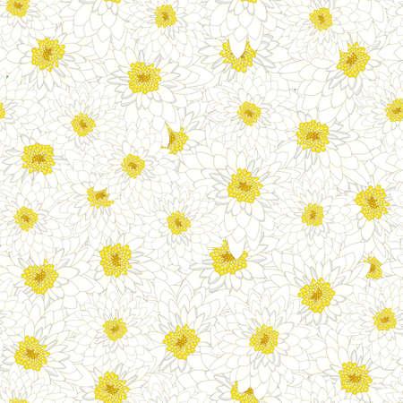 White Chrysanthemum Seamless Background. Vector Illustration.