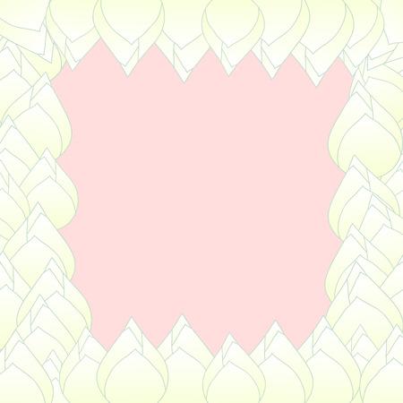 White Bud Indian lotus Border. (Nelumbo nucifera,sacred lotus, bean of India, Egyptian bean. National flower of India and Vietnam) Vector Illustration.
