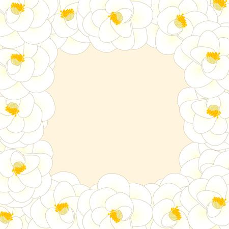White Camellia Flower Border isolated on Beige Ivory Background. Vector Illustration. Illustration