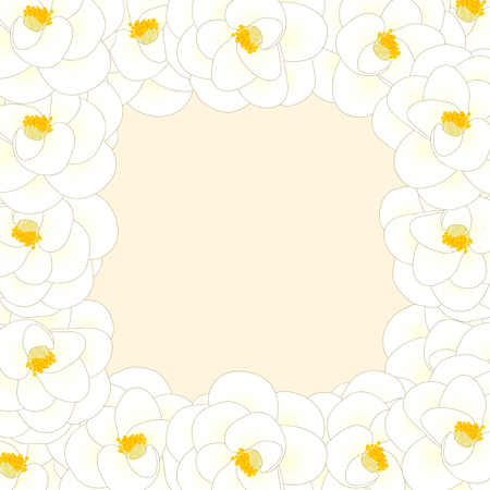 White Camellia Flower Border isolated on Beige Ivory Background. Vector Illustration. Stock Illustratie
