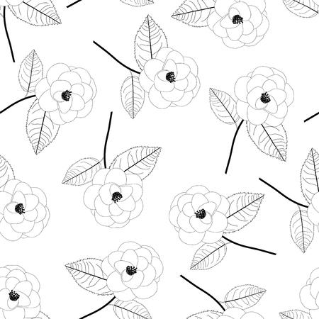 Camellia Flower Outline on White Background. Vector Illustration.