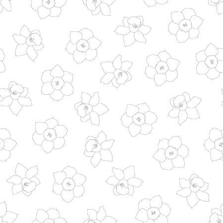 Daffodil - Narcissus Flower Outline on White Background. Vector Illustration.