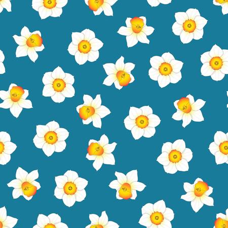 White Daffodil - Narcissus Flower on Indigo Blue Background. Vector Illustration. 向量圖像