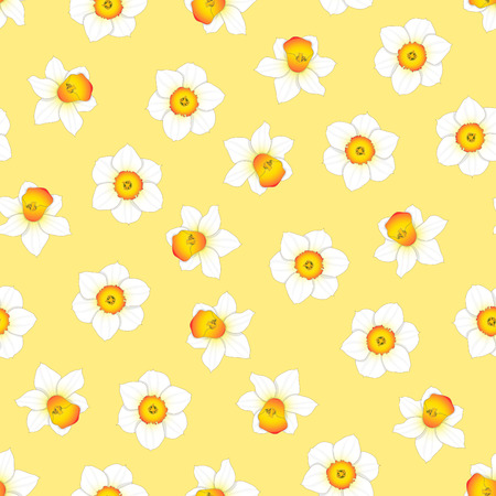 White Daffodil - Narcissus Flower on Yellow Background. Vector Illustration. 版權商用圖片 - 114820216