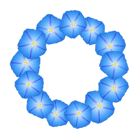 Blue Morning Glory Flower Wreath. Vector Illustration. Иллюстрация